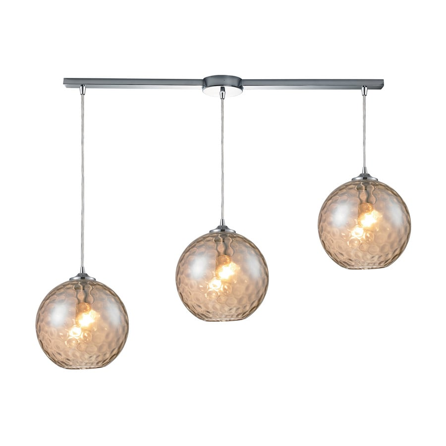 Westmore Lighting Lochmere 40.875-in Polished Chrome Hardwired Linear Tinted Glass Orb Pendant