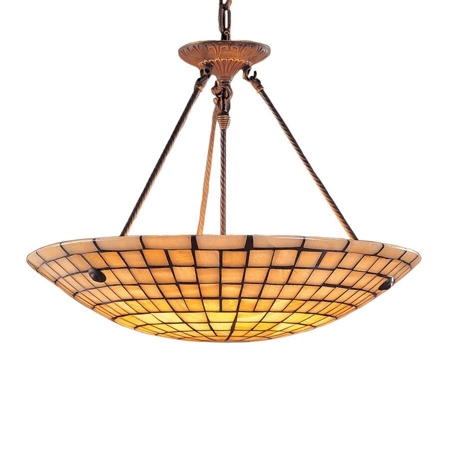 Westmore Lighting Stone Mosaic 24-in Dark Antique Brass Coastal Hardwired Single Bowl Integrated LED Pendant