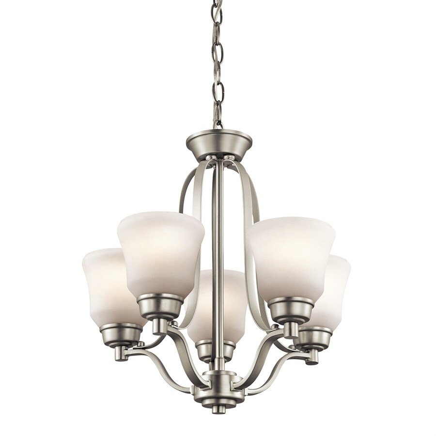 Kichler Langford 16.5-in 5-Light Brushed nickel Etched Glass Shaded Chandelier ENERGY STAR