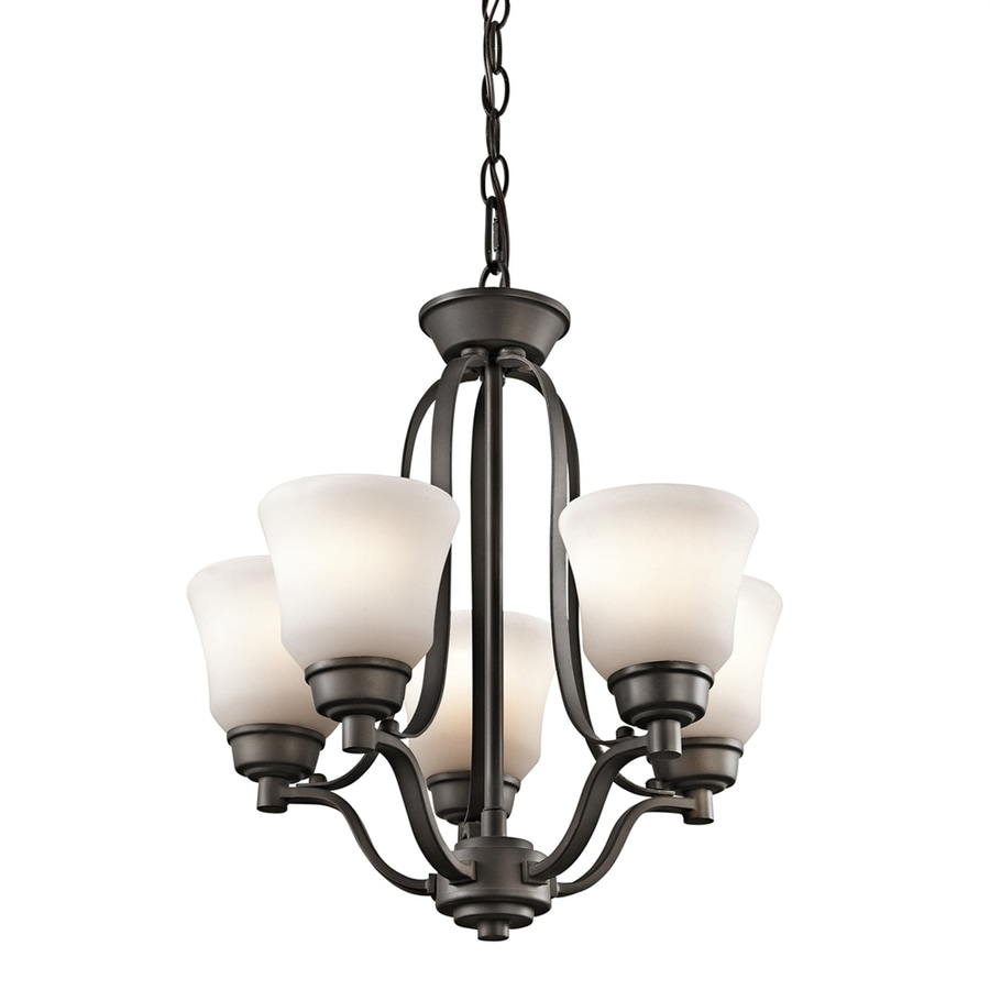 Kichler Langford 16.5-in 5-Light Olde Bronze Hardwired Etched Glass Shaded Chandelier