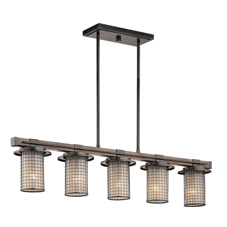 Kichler Ahrendale 40-in 5-Light Anvil iron Rustic Shaded Chandelier