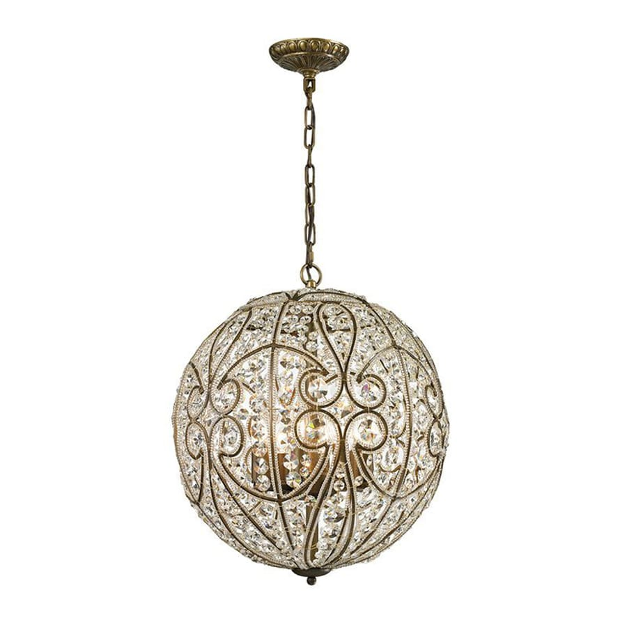 Westmore Lighting Bella 17-in Dark Bronze Vintage Hardwired Single Crystal Orb Pendant