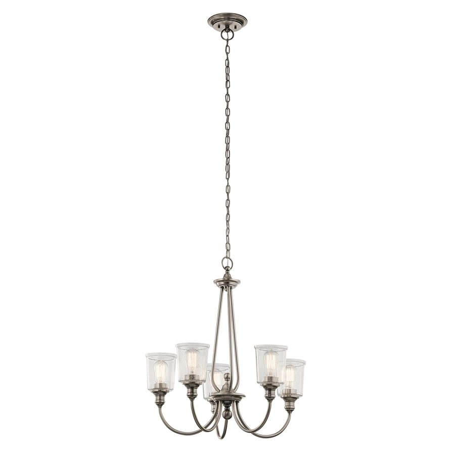 Kichler Waverly 26-in 5-Light Classic pewter Seeded Glass Shaded Chandelier