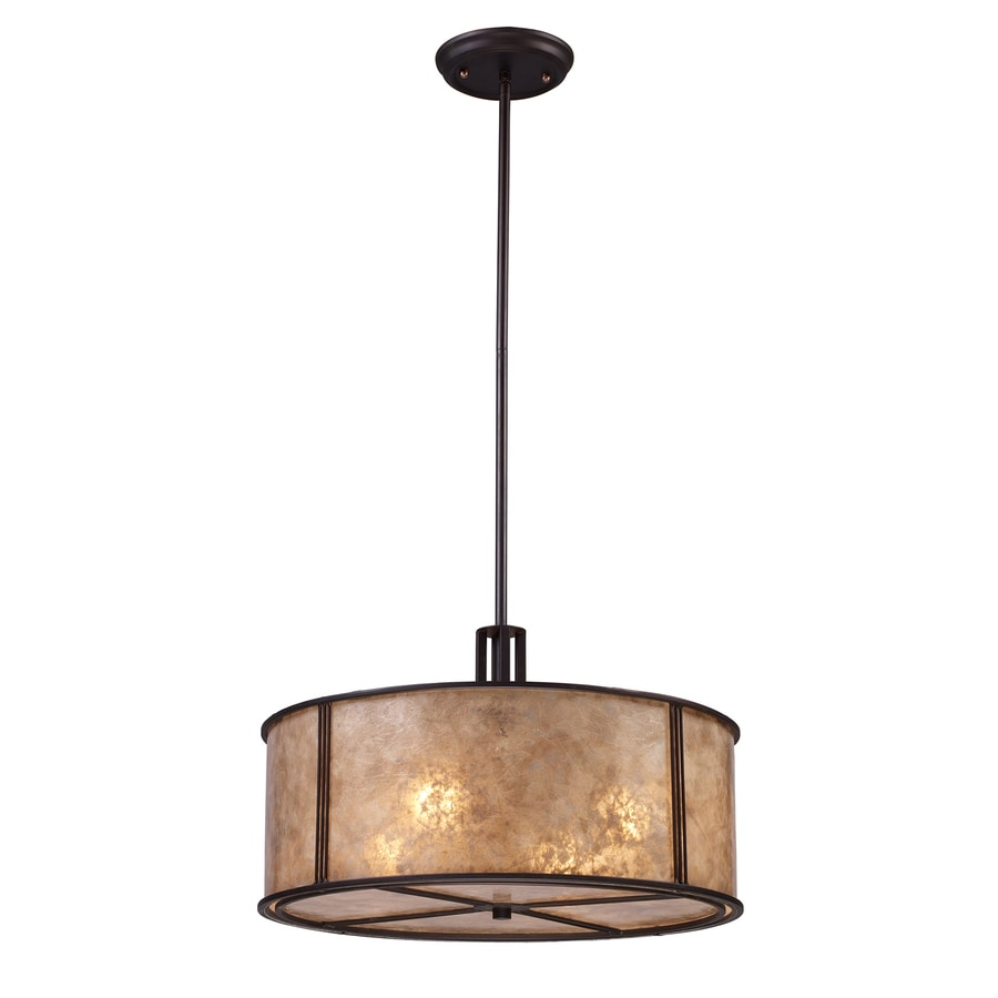 Westmore Lighting Squires 18.5-in Aged Bronze Hardwired Single Drum Pendant
