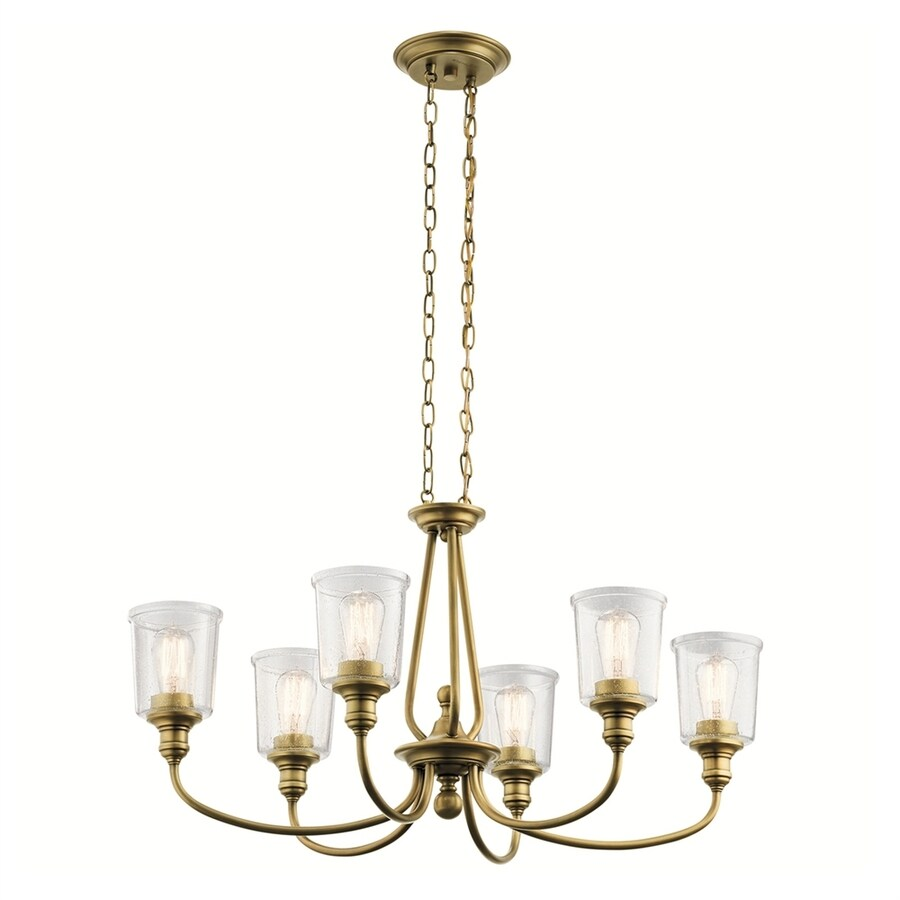 Kichler Waverly 20-in 6-Light Natural brass Seeded Glass Shaded Chandelier