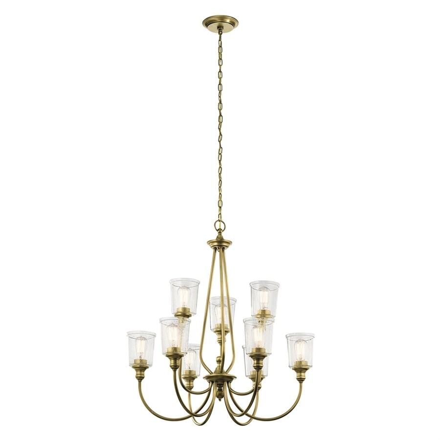 Kichler Waverly 32-in 9-Light Natural Brass Hardwired Seeded Glass Shaded Chandelier