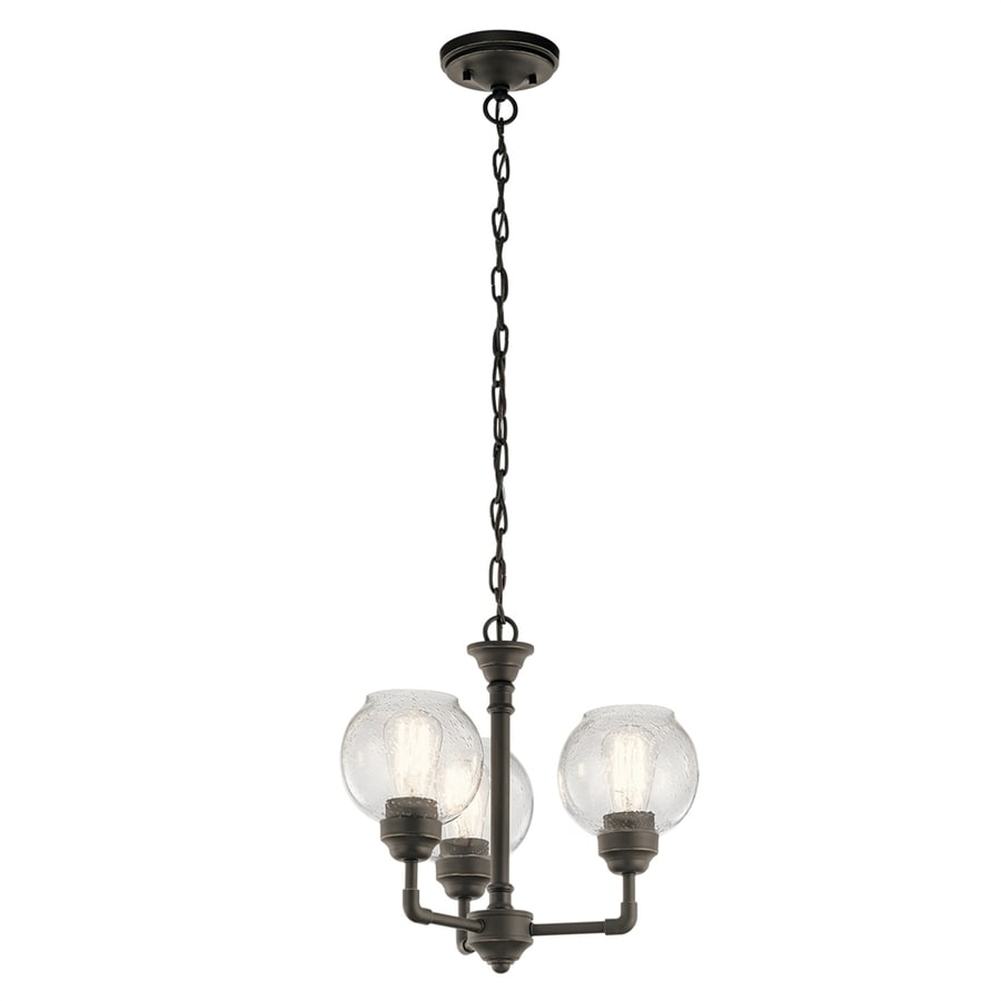 Kichler Niles 16-in 3-Light Olde Bronze Hardwired Seeded Glass Shaded Chandelier