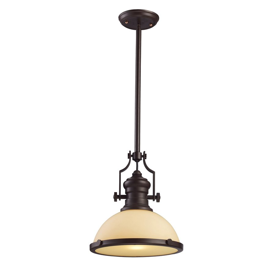 Westmore Lighting Chadwick 13-in Oiled Bronze Barn Hardwired Single Tinted Glass Warehouse Pendant