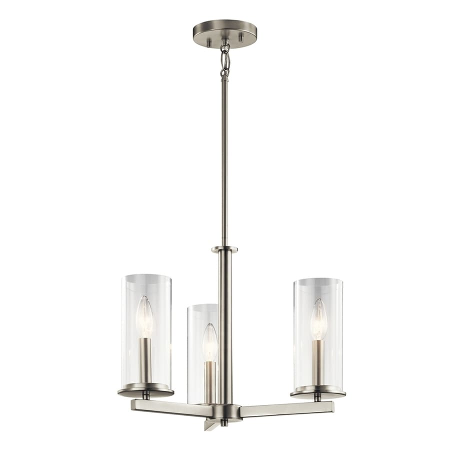 Kichler Crosby 18-in 3-Light Brushed nickel Clear Glass Candle Chandelier