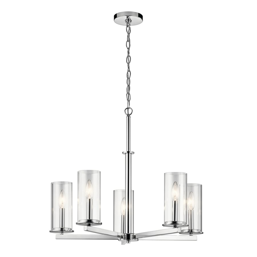 Kichler Crosby 5 Light Chrome Modern Contemporary Clear Gl Candle Chandelier