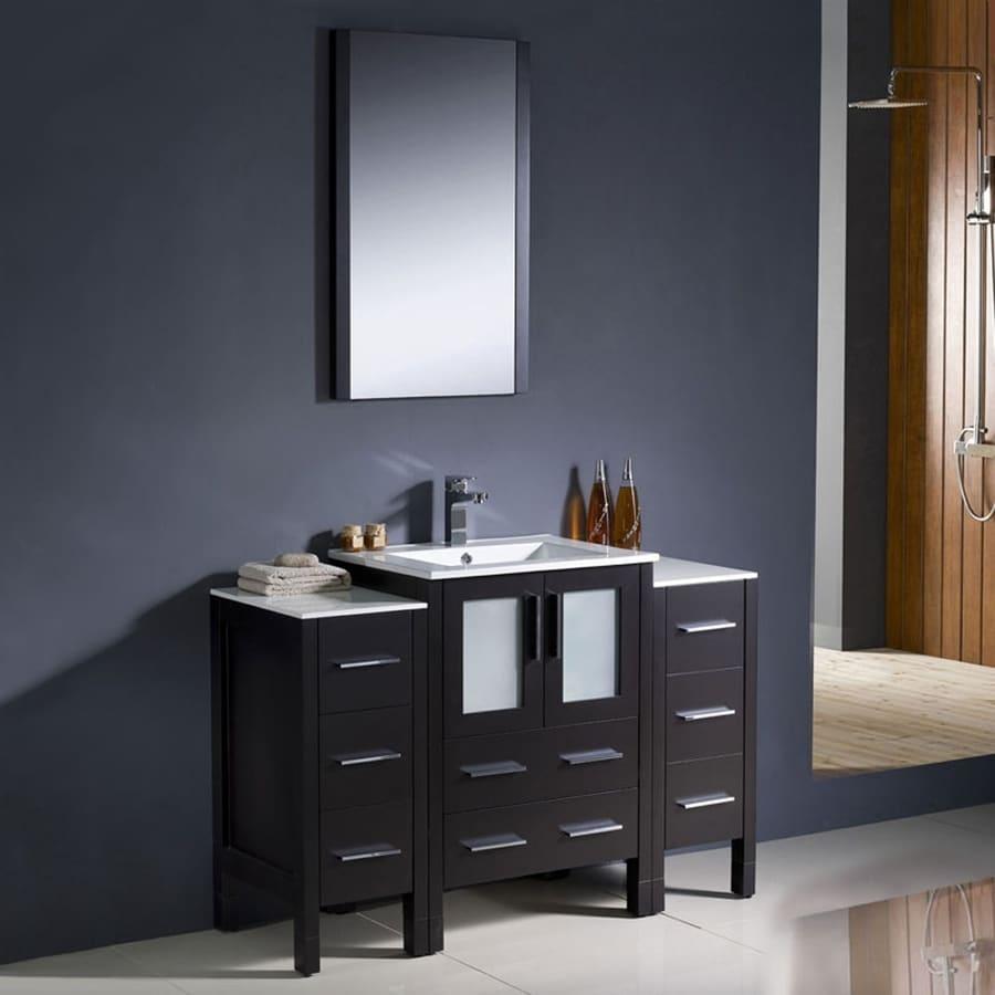Fresca Torino Espresso Integral Single Sink Bathroom Vanity with Ceramic Top (Common: 48-in x 18-in; Actual: 48-in x 18.13-in)