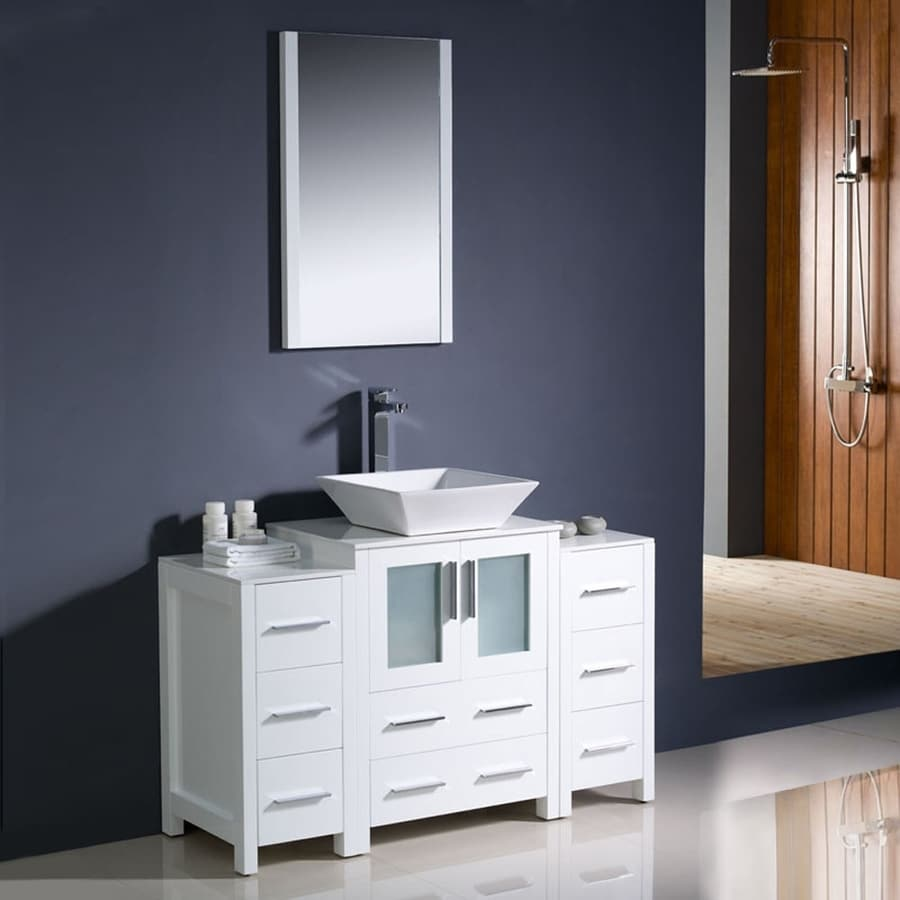 Shop Fresca Torino White Vessel Single Sink Bathroom Vanity With Ceramic Top Common 48 In X 18