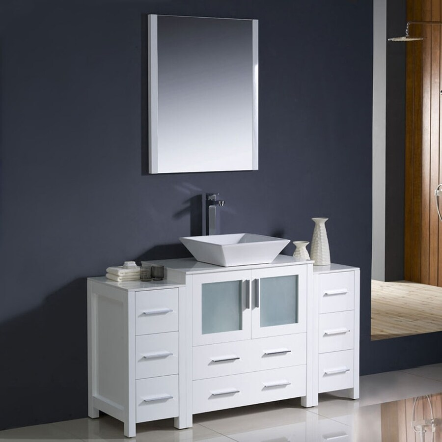 Fresca Torino White Vessel Single Sink Bathroom Vanity with Ceramic Top (Common: 54-in x 18-in; Actual: 54-in x 18.13-in)