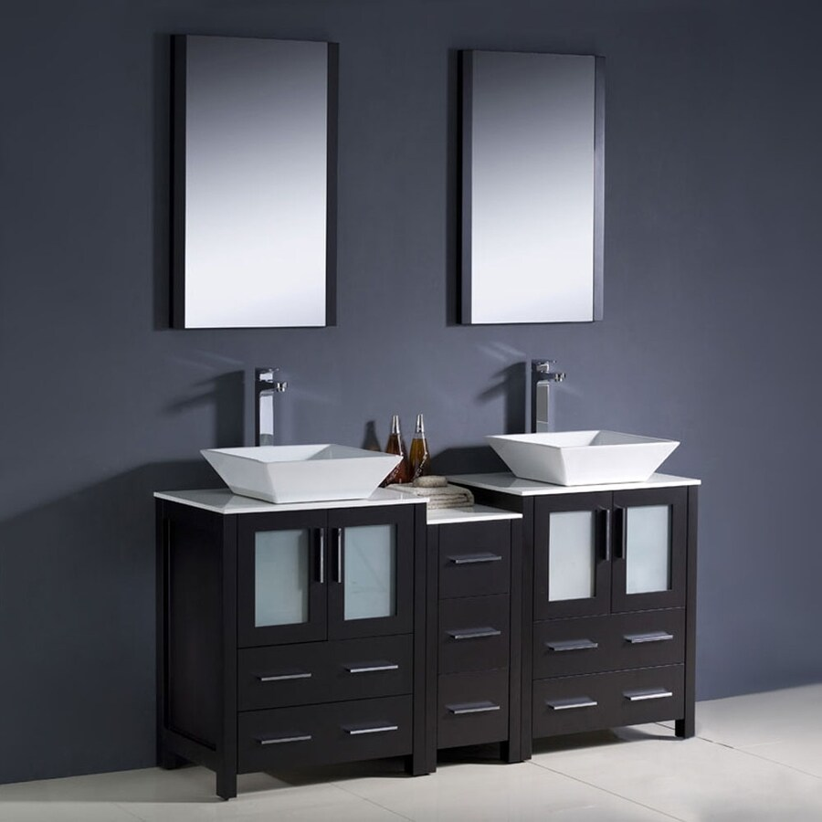 Fresca Torino Espresso Vessel Double Sink Bathroom Vanity with Ceramic Top (Common: 60-in x 18-in; Actual: 60-in x 18.13-in)