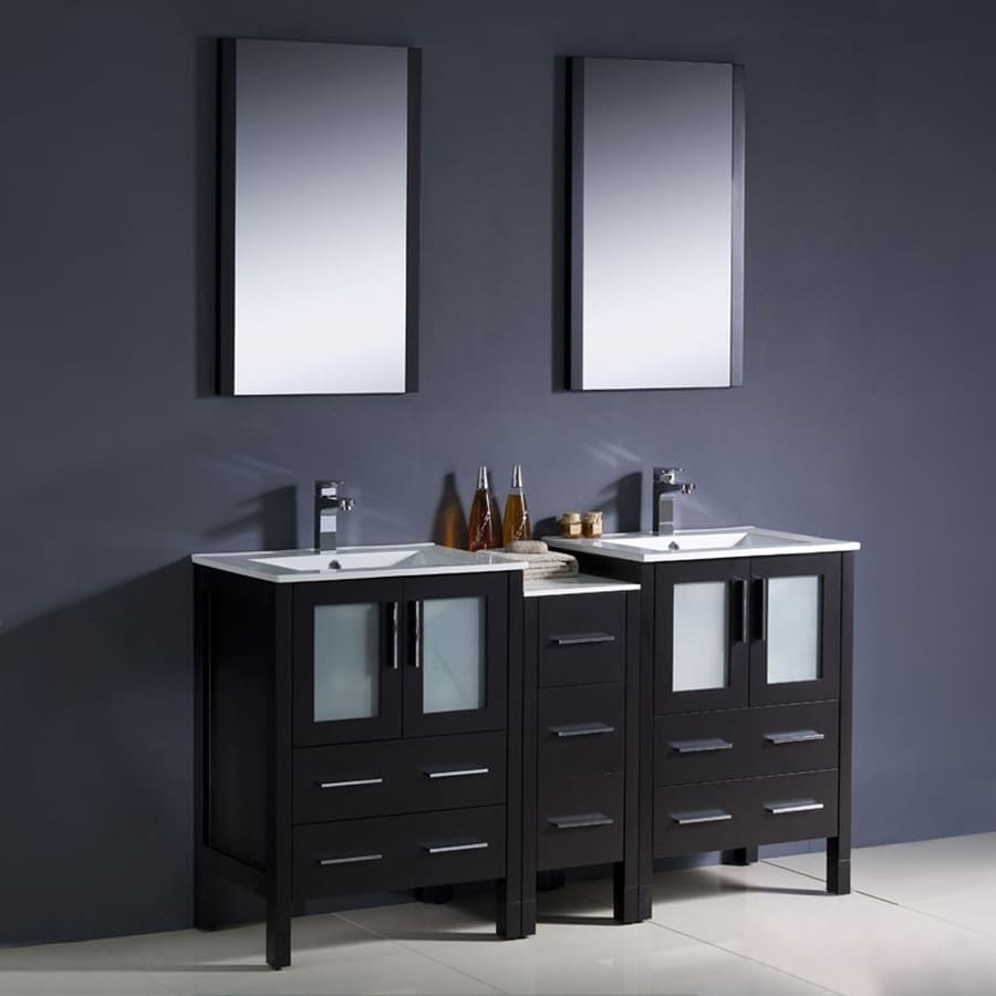 Fresca Torino Espresso Integral Double Sink Bathroom Vanity with Ceramic Top (Common: 60-in x 18-in; Actual: 60-in x 18.13-in)