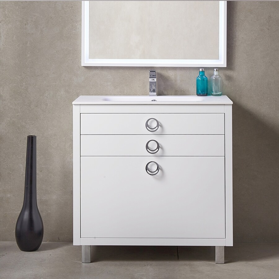 Fresca Platinum White Integral Single Sink Bathroom Vanity with Solid Surface Top (Common: 36-in x 18-in; Actual: 36-in x 18.13-in)