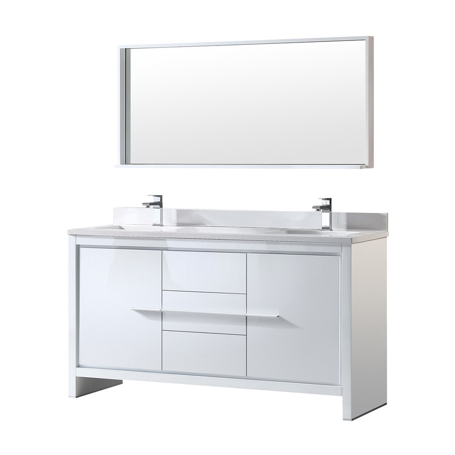 Fresca Trieste White Undermount Double Sink Bathroom Vanity with Engineered Stone Top (Common: 60-in x 20-in; Actual: 60-in x 20.5-in)
