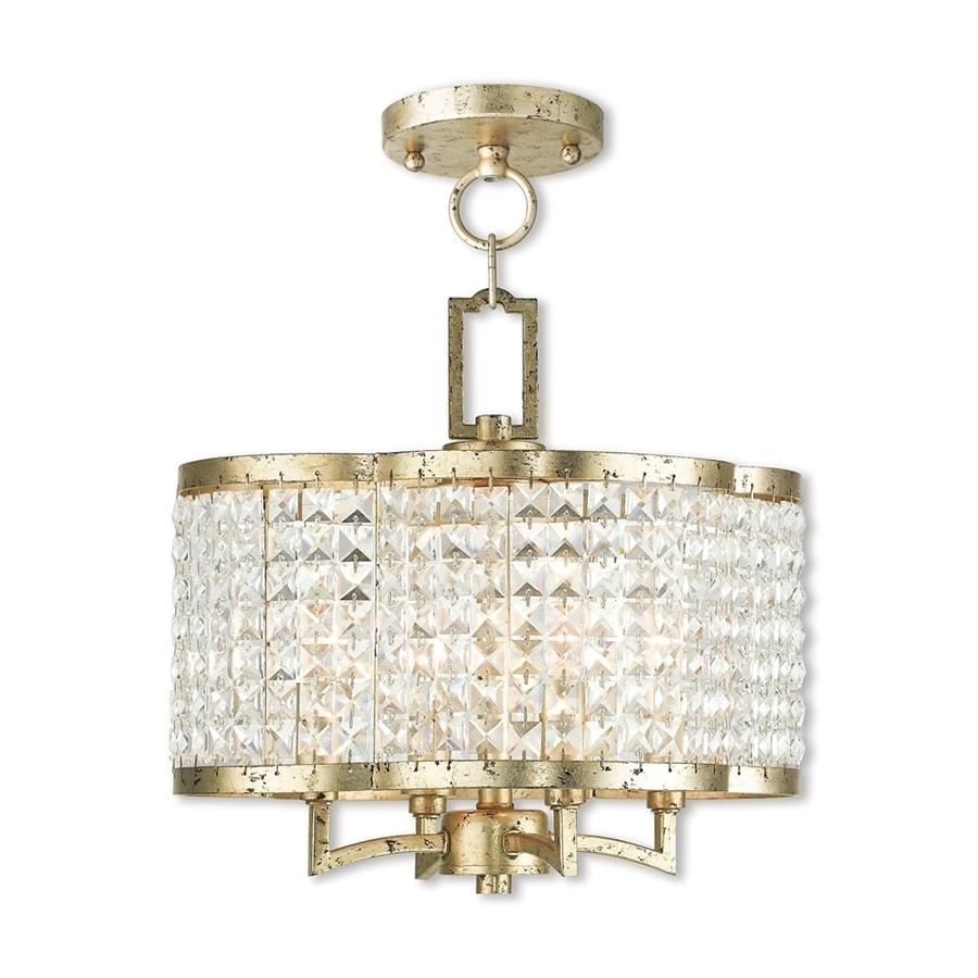 Livex Lighting Grammercy 14-in 4-Light Hand applied winter gold Crystal Textured Glass Drum Chandelier