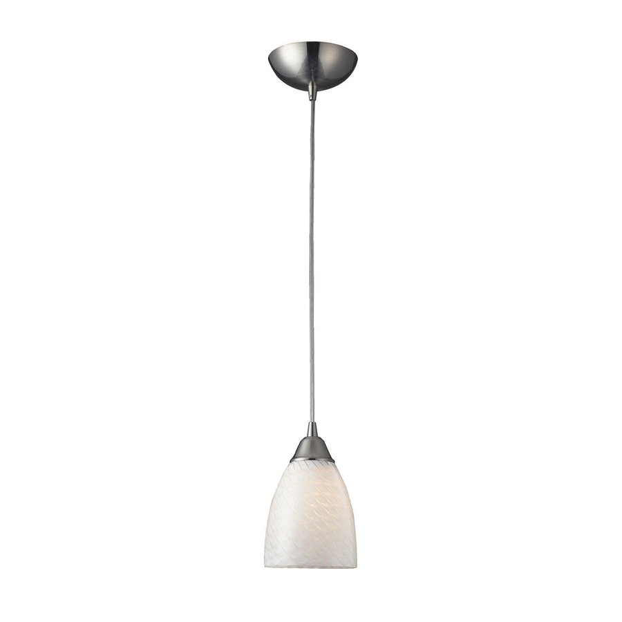 Westmore Lighting Nobello 5-in Satin Nickel Hardwired Mini Art Glass Bell Pendant