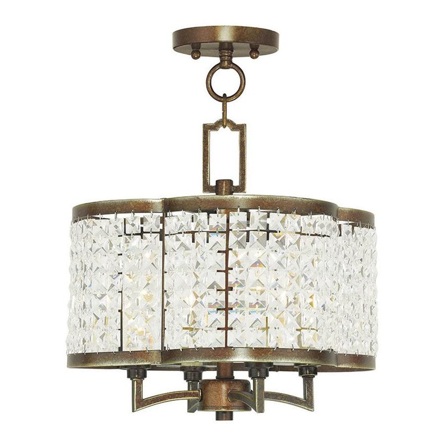 Livex Lighting Grammercy 14-in 4-Light Palacial bronze Crystal Textured Glass Drum Chandelier