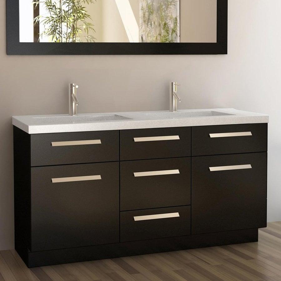 Shop design element moscony espresso undermount double sink bathroom vanity with quartz top - Bathroom vanity tops edmonton design ...