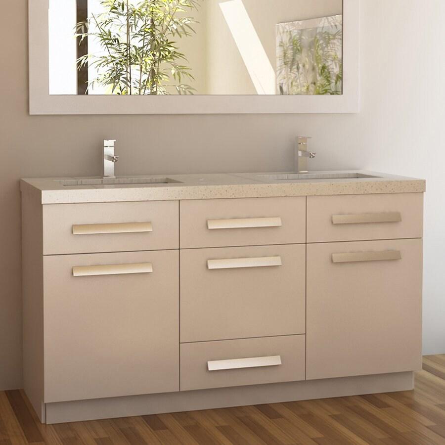 Shop Design Element Moscony White Undermount Double Sink Bathroom Vanity With Quartz Top Common