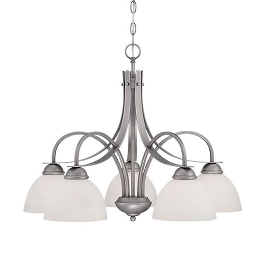 Millennium Lighting 27.25-in 5-Light Brushed pewter Etched Glass Shaded Chandelier