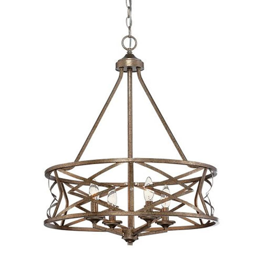 Millennium Lighting 21-in 4-Light Vintage Gold Hardwired Cage Chandelier