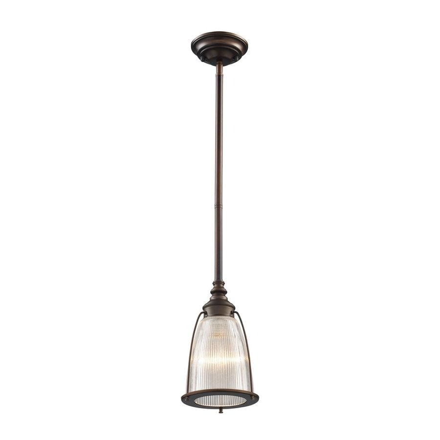 Westmore Lighting Halophane 6-in Aged Bronze Country Cottage Hardwired Mini Ribbed Glass Bell Pendant