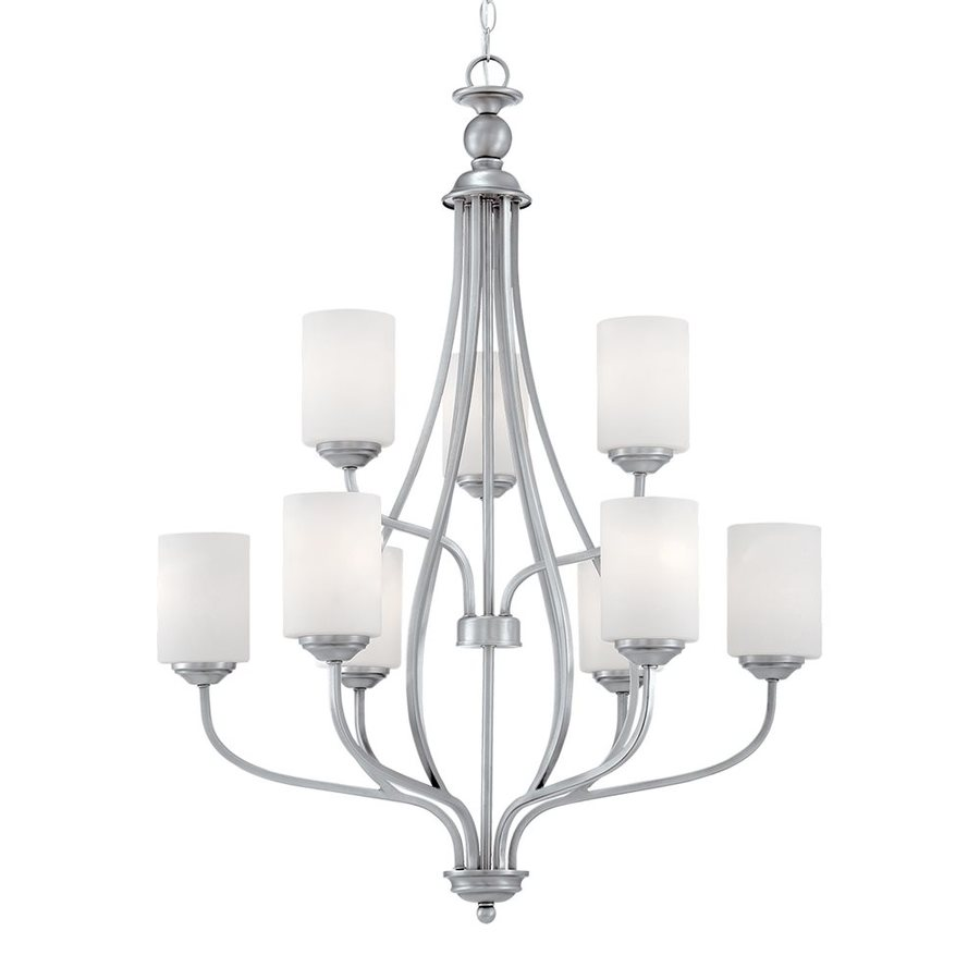 Millennium Lighting Lansing 28-in 9-Light Brushed pewter Etched Glass Shaded Chandelier