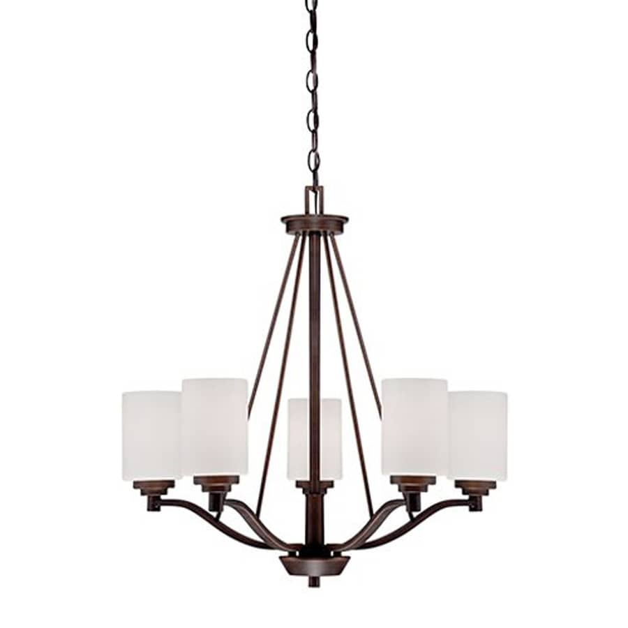 Millennium Lighting Durham 25-in 5-Light Rubbed bronze Etched Glass Shaded Chandelier