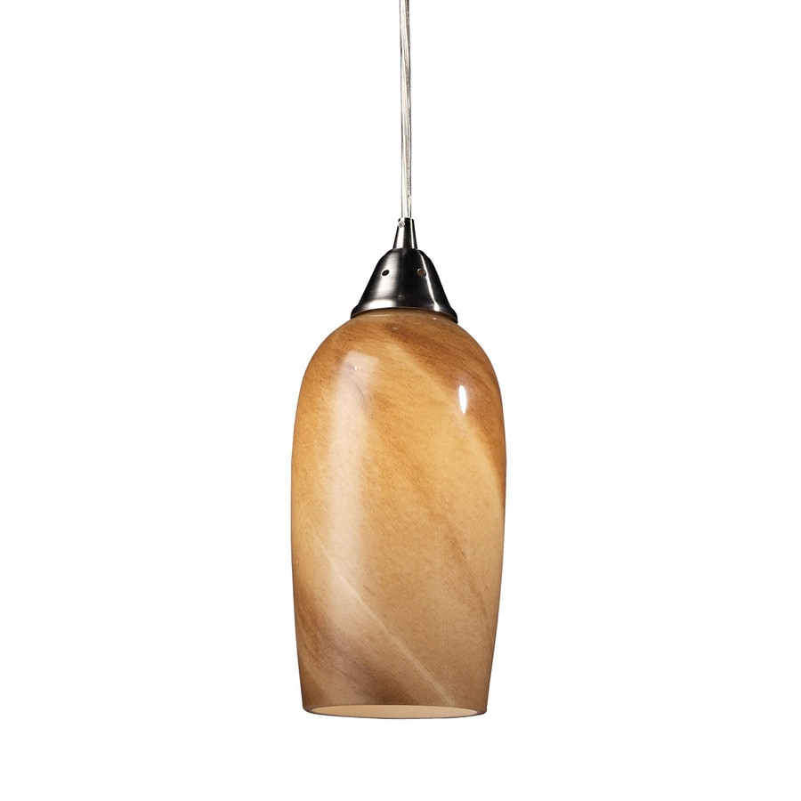 Westmore Lighting Asterion 5-in Satin Nickel Hardwired Mini Art Glass Cylinder Pendant