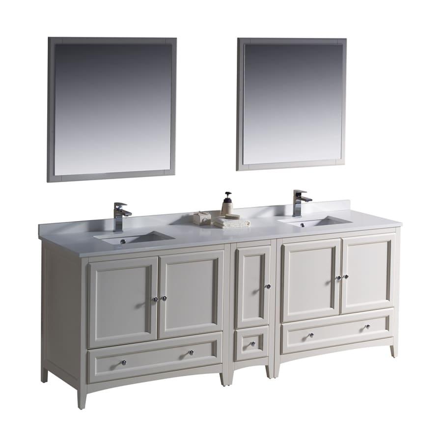 Shop Fresca Antique White Undermount Double Sink Bathroom Vanity With Quartz Top Common 84 In