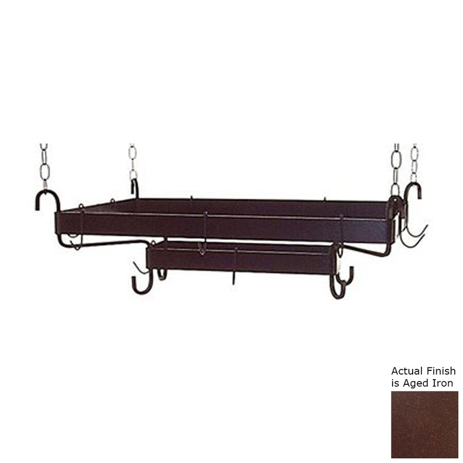 Grace Collection 38.5-in x 20-in Brown Rectangular Pot Rack