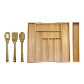 Oceanstar Design 18 In X 19.25 In Bamboo Cutlery Insert Drawer Organizer