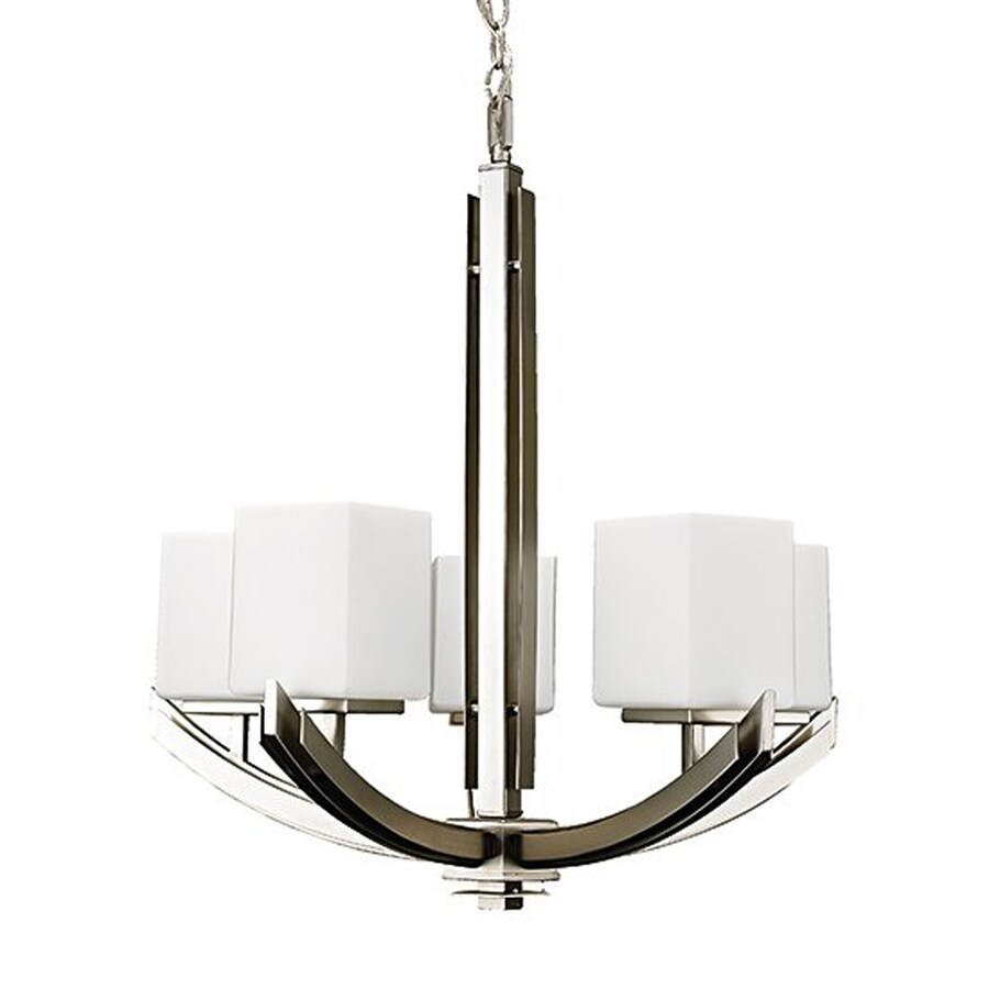 Russell Lighting Crafton 21-in 5-Light Brushed chrome Shaded Chandelier