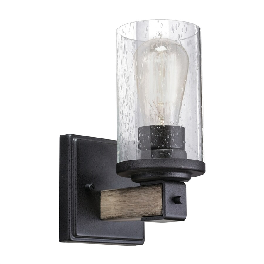 Kichler Exclusives Barrington 4 49 In W 1 Light Anvil Iron Driftwood Arm Hardwired Wall Sconce