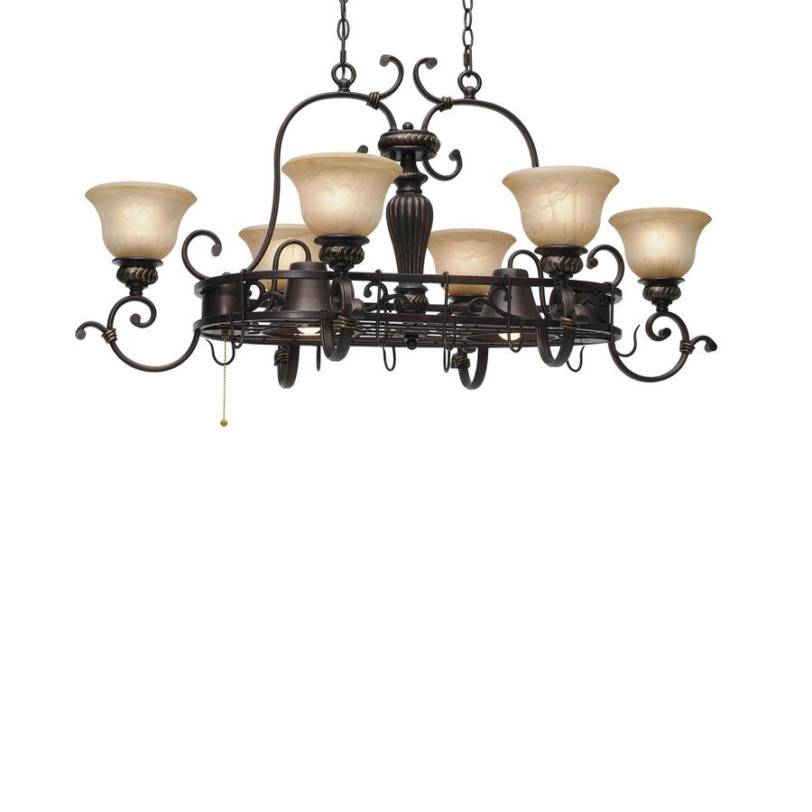 Golden Lighting Jefferson 21.25-in W 8-Light Etruscan Bronze Lighted Pot Rack with Tinted Shade