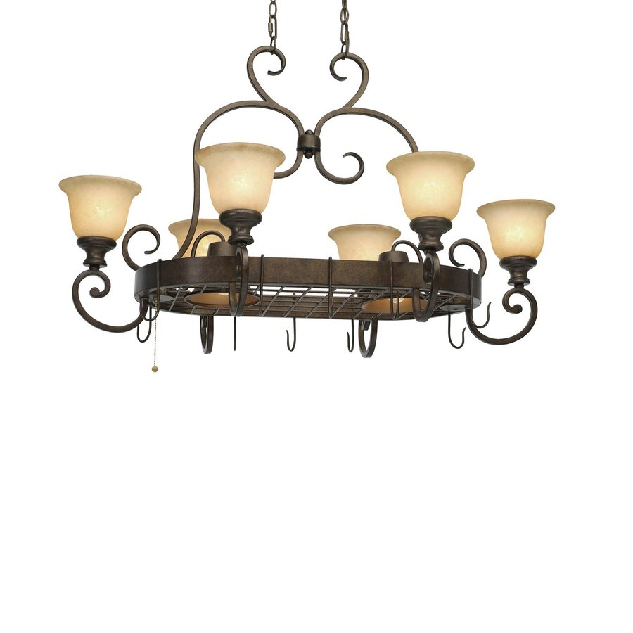 Golden Lighting Heartwood 24.75-in W 8-Light Burnt Sienna Lighted Pot Rack with Tinted Shade