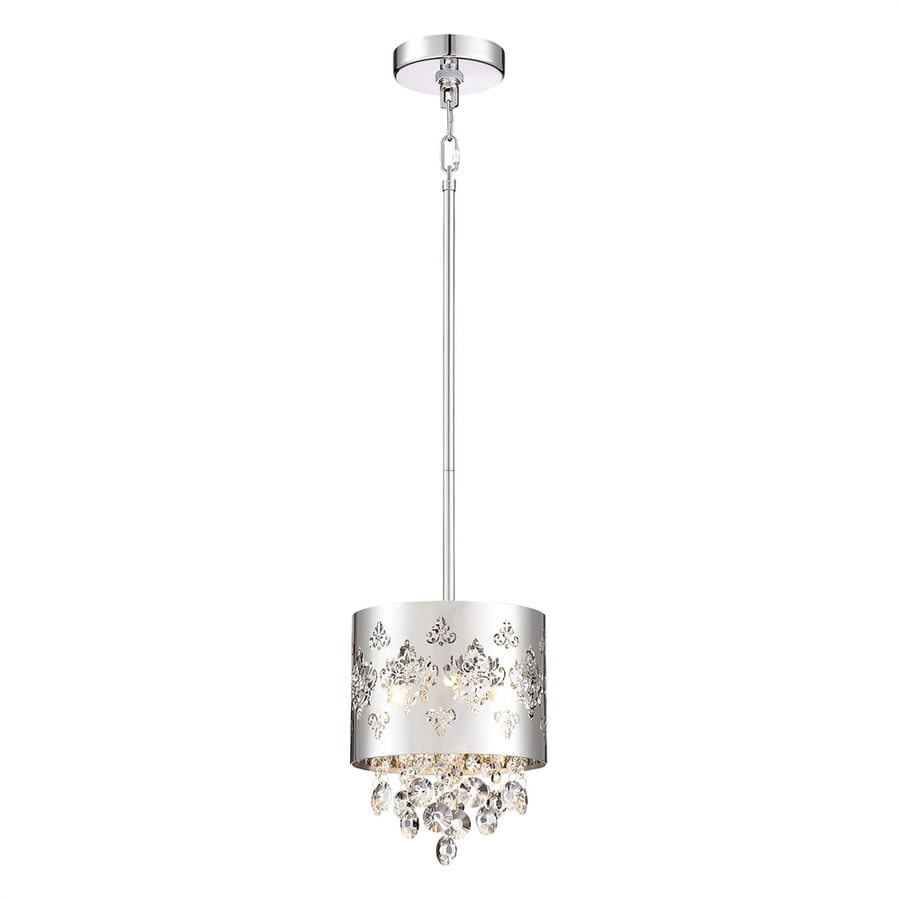 Ashley Harbour Chime 7.88-in Polished Chrome Mini Crystal Drum Pendant