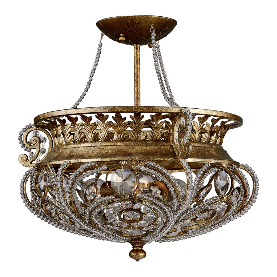 Quoizel La Crysta 18-in W Gold F-in Crystal Semi-Flush Mount Light