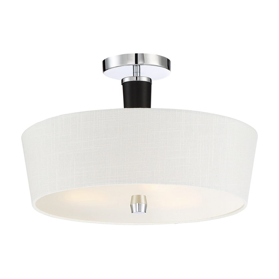 Quoizel Taper 16-in W Polished Chrome Etched Glass Semi-Flush Mount Light