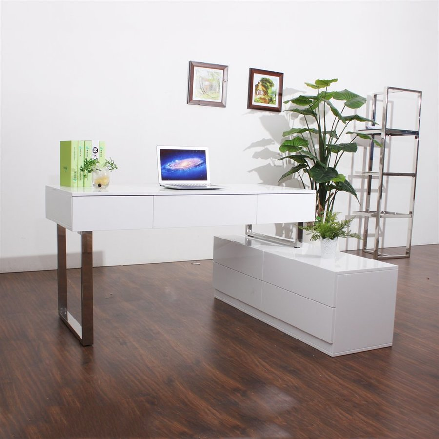 Shop J M Furniture Contemporary White Lacquer Writing Desk At