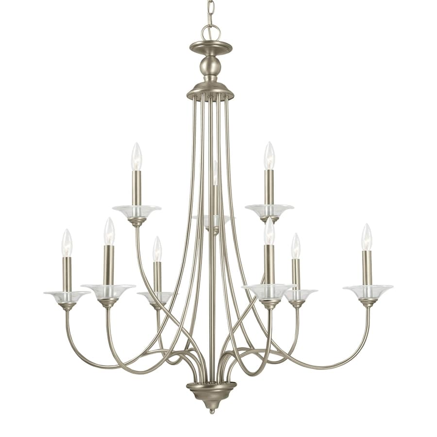 Sea Gull Lighting Lemont 34-in 9-Light Antique brushed nickel Country Cottage Candle Chandelier ENERGY STAR