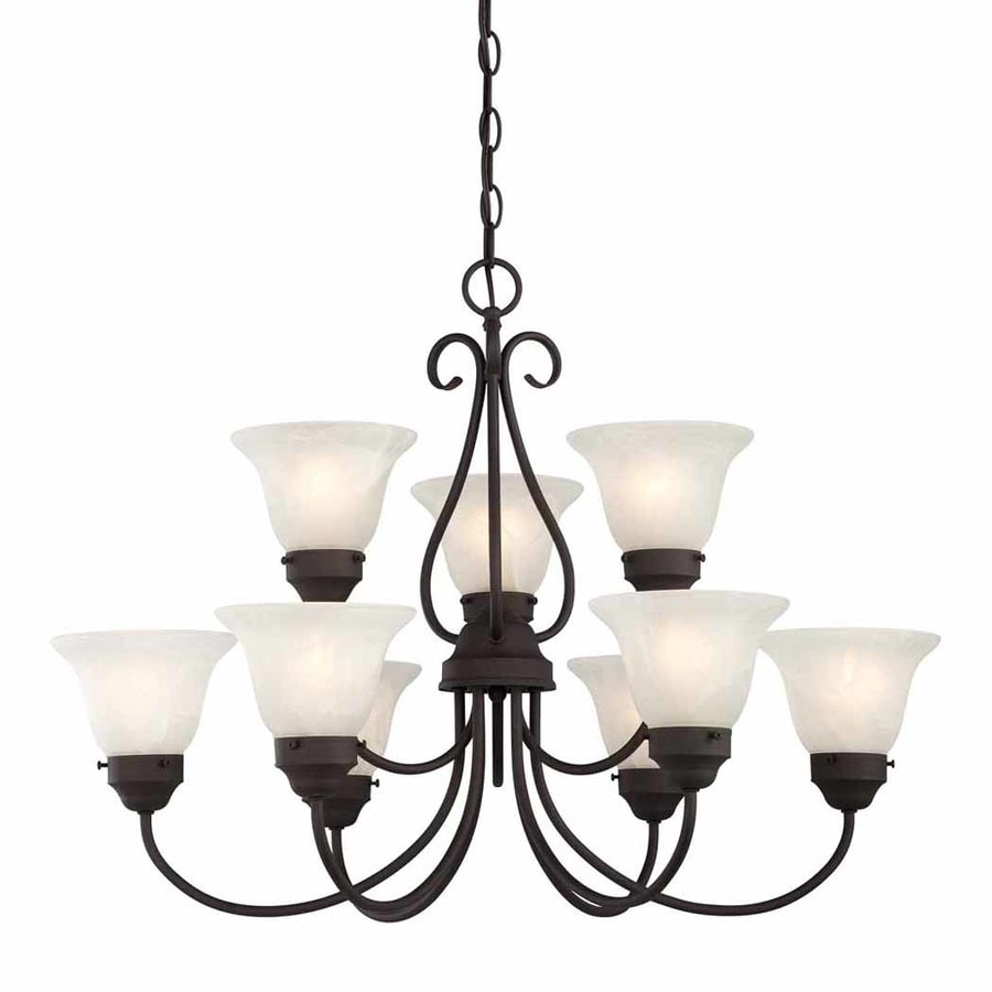 Volume International Minster 29.5-in 9-Light Antique bronze Alabaster Glass Shaded Chandelier