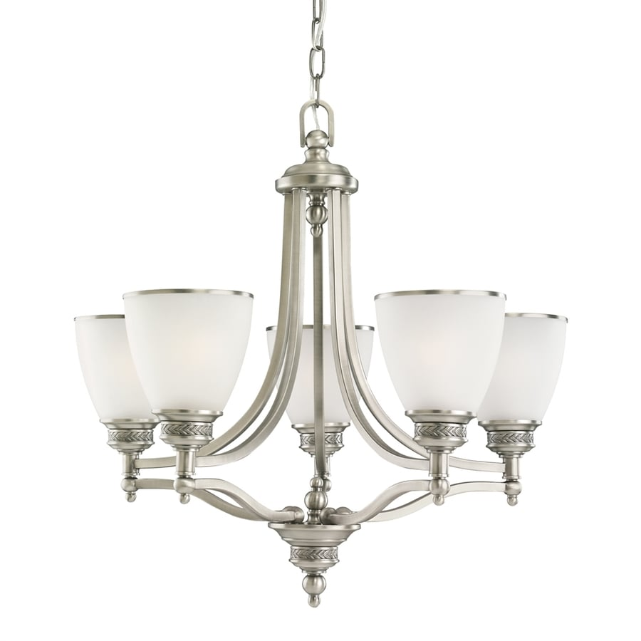 Sea Gull Lighting Laurel Leaf 24.5-in 5-Light Antique brushed nickel Etched Glass Shaded Chandelier ENERGY STAR