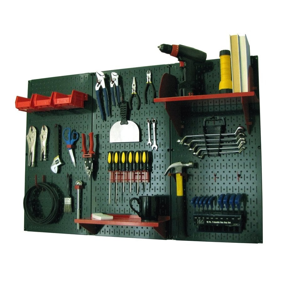 Wall Control 48-in W x 32-in H Green/Red Steel Garage Storage System