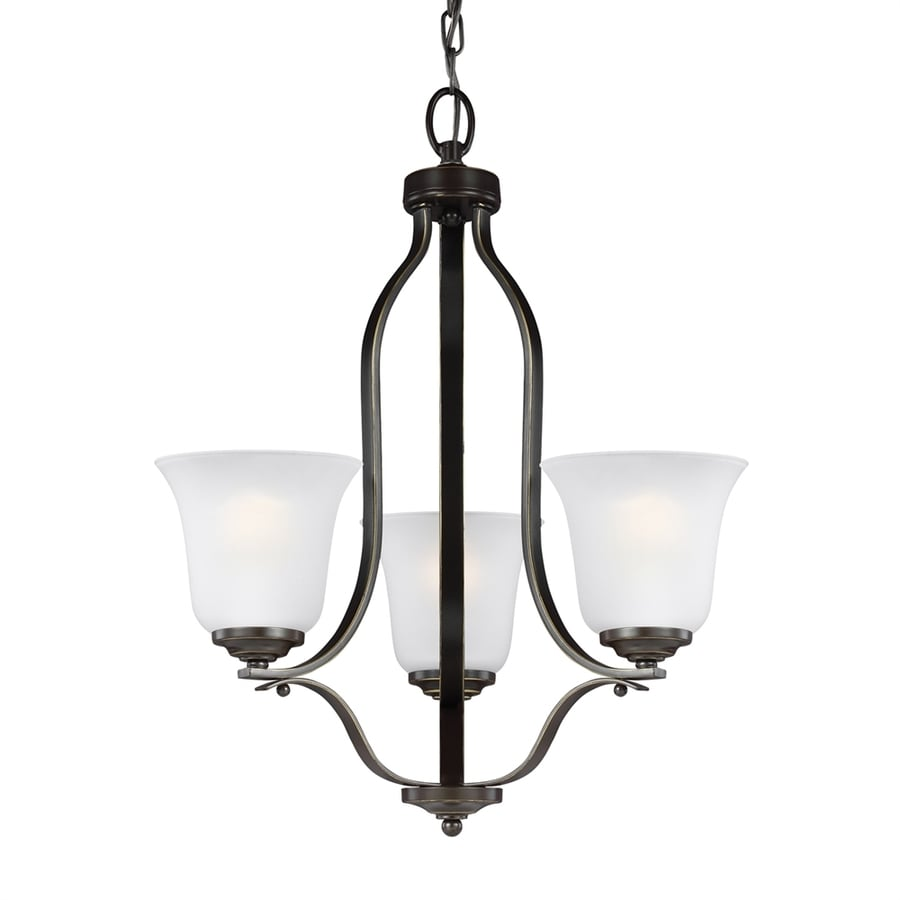 Sea Gull Lighting Emmons 19.5-in 3-Light Heirloom bronze Etched Glass Shaded Chandelier ENERGY STAR