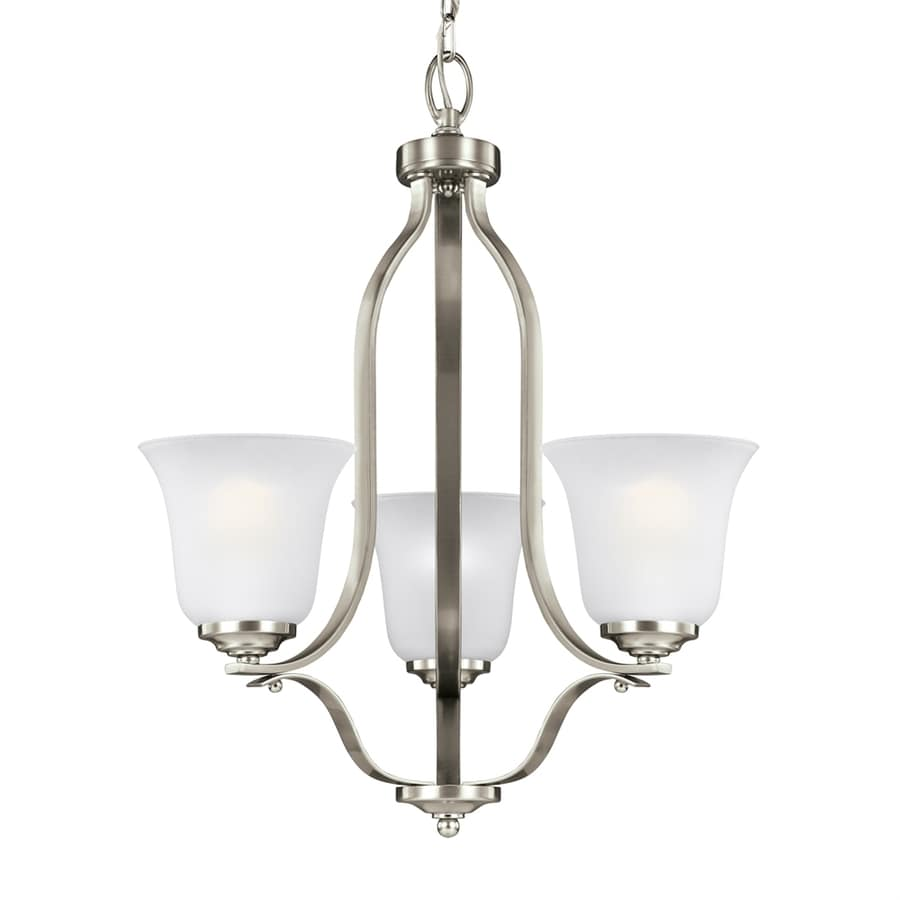 Sea Gull Lighting Emmons 19.5-in 3-Light Brushed nickel Etched Glass Shaded Chandelier ENERGY STAR