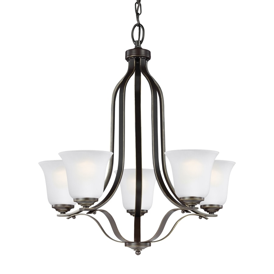 Sea Gull Lighting Emmons 23.875-in 5-Light Heirloom bronze Etched Glass Shaded Chandelier ENERGY STAR